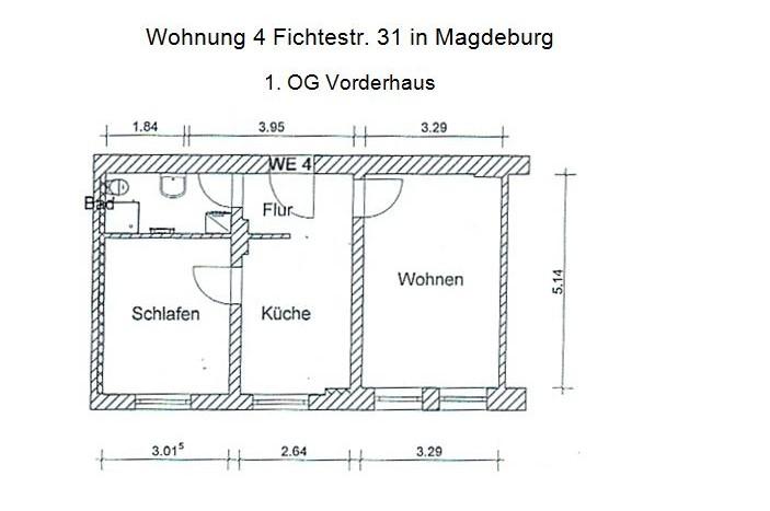 2 Raum Wohnung , Immobilienmakler, Magdeburg, Immodrom