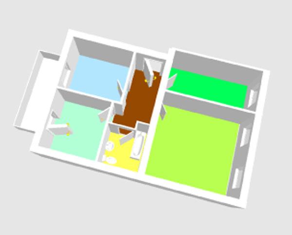 3D-Ansicht der Wohnung